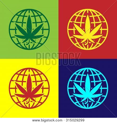Color Legalize Marijuana Or Cannabis Globe Symbol Icon Isolated On Color Background. Hemp Symbol. Ve