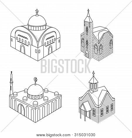 Isolated Object Of Architecture And Building Icon. Collection Of Architecture And Clergy Stock Vecto