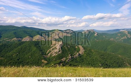 Summer landscape in mountains and the blue sky with clouds