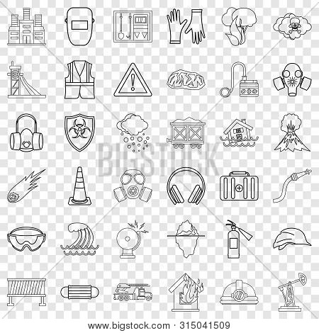 Catastrophic Icons Set. Outline Style Of 36 Catastrophic Icons For Web For Any Design