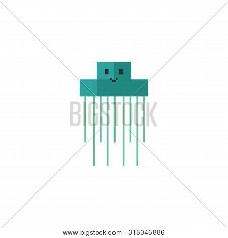 Cute Neo Mint Green 8 Bit Jellyfish Vector Illustration. Sealife Pixel Clipart.