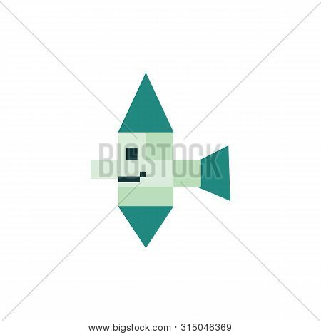 Cute Neo Mint Green 8 Bit Tropical Fish Vector Illustration. Sealife Pixel Clipart.