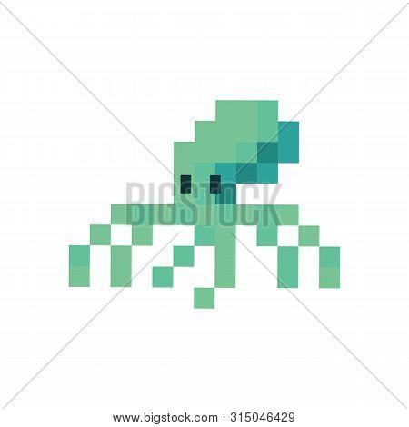 Cute Neo Mint Green 8 Bit Octopus Vector Illustration. Sealife Pixel Clipart.