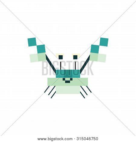 Cute Neo Mint Green 8 Bit Crab Vector Illustration. Sealife Pixel Clipart.