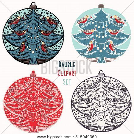 Robin Red Breast Christmas Bauble Ornament Set. Isolated Festive Design Element. Hand Draw Winter Ho