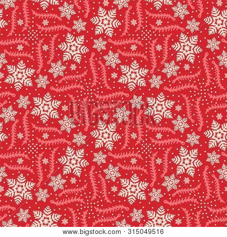 Hand Drawn Abstract Winter Snowflakes Pattern. Stylish Crystal Stars On Red Background. Elegant Simp