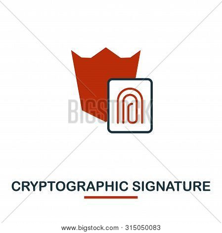 Cryptographic Signature Icon. Creative Two Colors Design From Crypto Currency Icons Collection. Simp