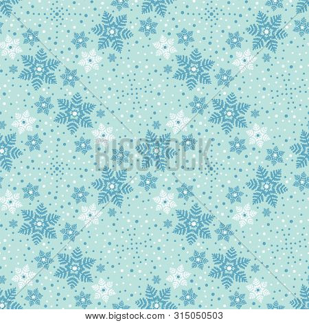 Hand Drawn Abstract Winter Snowflakes Pattern. Stylish Crystal Stars. Ice Blue Background. Elegant S