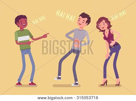 Friends Joking And Laughing. Happy Boys And Young Girl Enjoy Together Funny Friendly Jokes, Enjoymen