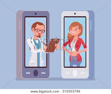 Mobile Telemedicine Smartphone Application And Male Doctor. Useful Mobile Device Tool For Managing H