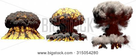 3 large different phases fire mushroom cloud explosion of fusion bomb with smoke and flames isolated on white - 3D illustration of explosion poster