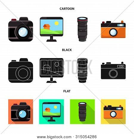 Vector Illustration Of Photoshoot And Work Icon. Set Of Photoshoot And Hobbies Stock Vector Illustra