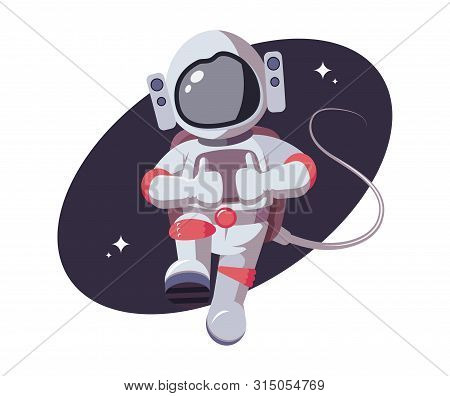 Astronaut Shows His Thumb Up. Space Character Gestures Positively In Open Space. Spaceman In Flat St