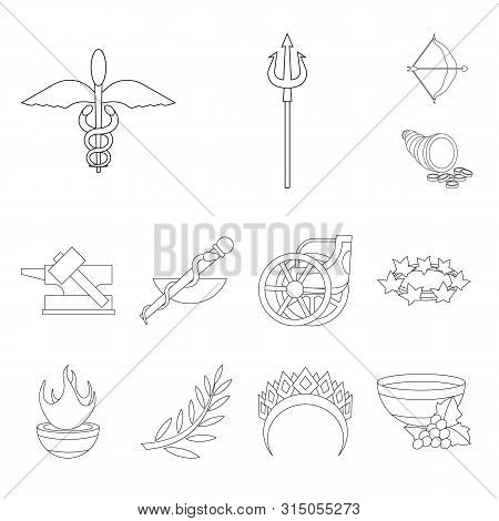 Vector Design Of Mythology And God Sign. Set Of Mythology And Culture Stock Symbol For Web.