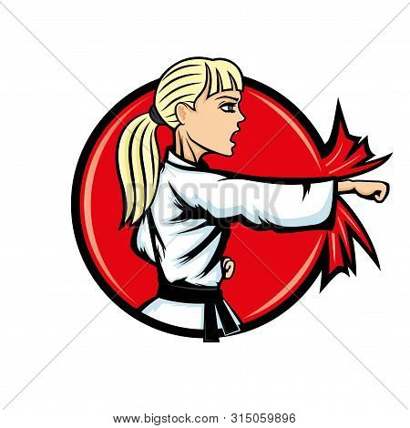 Karate Woman Sports Sign On A White Background.