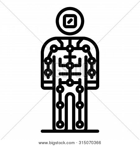 Ai Humanoid Icon. Outline Ai Humanoid Icon For Web Design Isolated On White Background