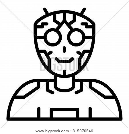 Ai Humanoid Intellect Icon. Outline Ai Humanoid Intellect Icon For Web Design Isolated On White Back