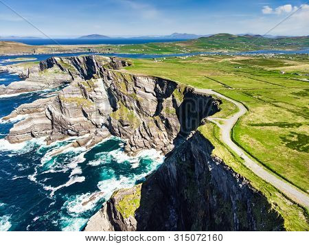 Amazing Wave Lashed Kerry Cliffs, The Most Spectacular Cliffs In County Kerry, Ireland. Tourist Attr