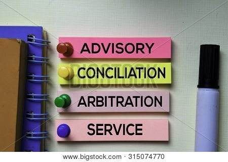 Advisory Conciliation And Arbitation Service - Acas Text On Sticky Notes Isolated On Office Desk