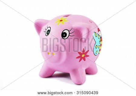 Pink Piggy Bank On White Background With No Money. Child Moneybox.