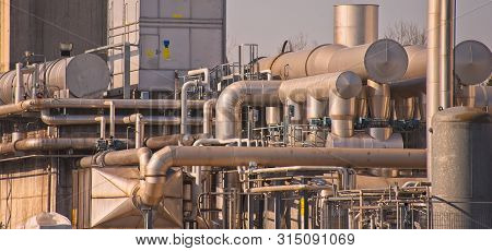 Chemical Complex,  Pipes And Tanks.