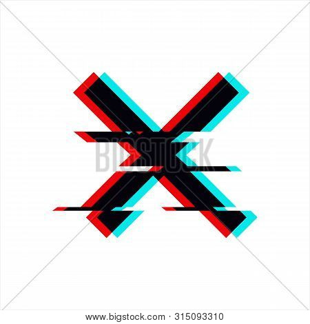 Vector Symbol Of Cross In Glitch Style. Geometric Glitched Icon Isolated On White Background. Modern