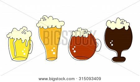 Outline Pint Tankards Set Of Frothy Four Beers