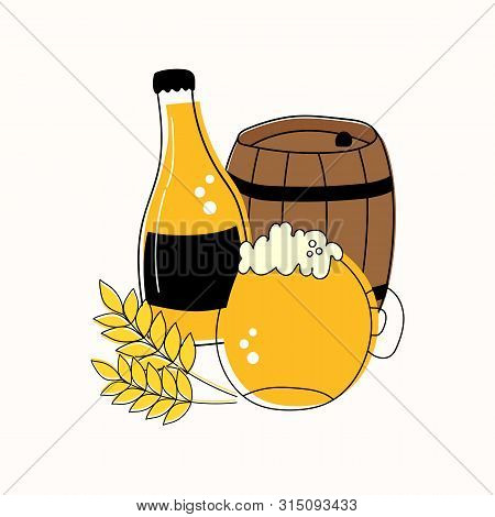 Outline Set Of Mug And Bottle Of Beer, Barrel And Wheat Isolated On White Background