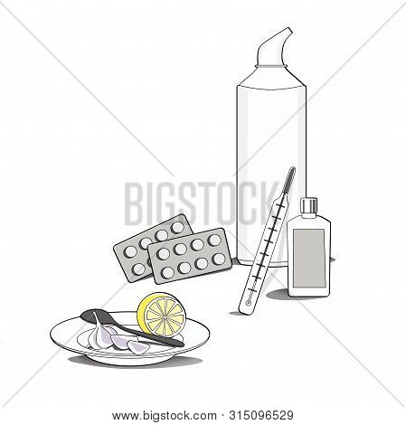 Season of illnesses and colds. Therapeutic still life. Medicines and folk remedies for colds: tablets, nasal wash products, syrup, lemon, garlic and a thermometer. poster