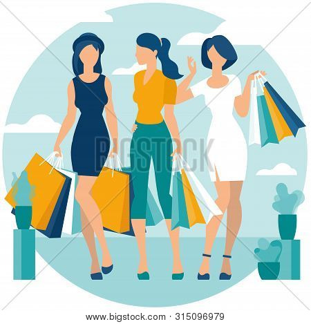Flat Design Vector Illustration Of Young Women Enjoy Shopping. Vector Concept For  Poster, Banner, W