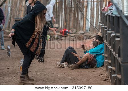 Riomalo De Abajo, Extremadura, Spain - July 15, 2018: A Couple Lying On The Floor And Lying On The H