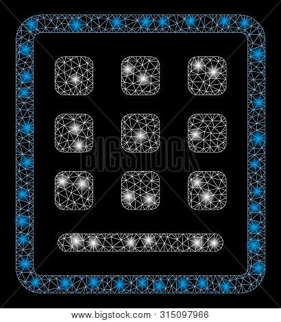 Glowing Mesh Keypad With Sparkle Effect. Abstract Illuminated Model Of Keypad Icon. Shiny Wire Frame