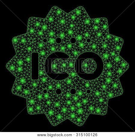 Flare Mesh Ico Token With Glare Effect. Abstract Illuminated Model Of Ico Token Icon. Shiny Wire Fra