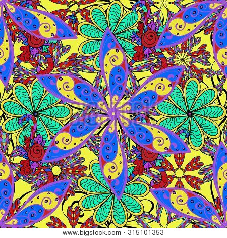 Raster Illustration. Flowers On Blue, Yellow And Violet Colors. Raster Illustration. Seamless Flower