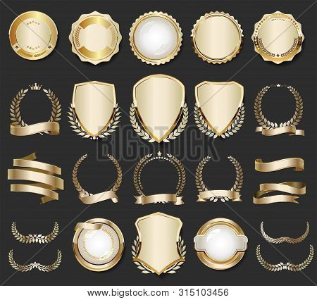 Gold, Badge, Golden, Label, Premium, Luxury, Quality, Design, Emblem, Tag, Sticker, Collection, Set,