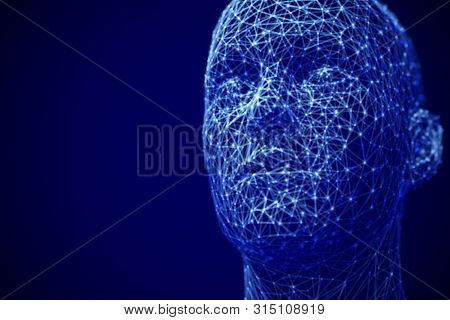 Artificial Intelligence Or Deep Machine Learning Concept: Polygonal Male Face. Digital Human Or Robo