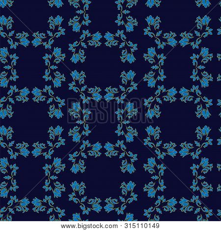 Navy Blue Background Ditzy Floral Peacock Eye Feather Motif. Vintage Indian Small Paisley Leaves All
