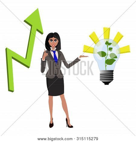 Beatifull Businesswoman Pointing To Successfull Idea From Lamp With Growing Green Plant And Arrow Ar