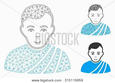Mesh Patrician Citizen Model With Triangle Mosaic Icon. Wire Frame Polygonal Mesh Of Patrician Citiz