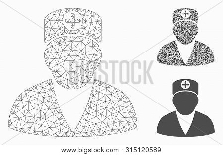 Mesh Medic Person Model With Triangle Mosaic Icon. Wire Frame Polygonal Mesh Of Medic Person. Vector