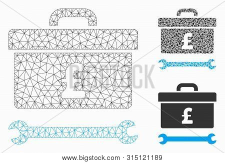 Mesh Pound Toolbox Model With Triangle Mosaic Icon. Wire Frame Triangular Mesh Of Pound Toolbox. Vec