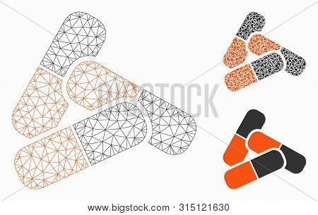 Mesh pills model with triangle mosaic icon. Wire carcass triangular network of pills. Vector collage of triangle parts in various sizes, and color tints. Abstract 2d mesh pills, poster