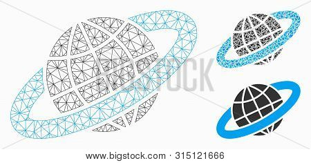 Mesh Planetary Ring Model With Triangle Mosaic Icon. Wire Frame Polygonal Mesh Of Planetary Ring. Ve