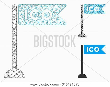 Mesh Ico Flag Marker Model With Triangle Mosaic Icon. Wire Frame Triangular Mesh Of Ico Flag Marker.