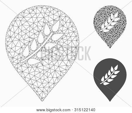 Mesh Plantation Mark Model With Triangle Mosaic Icon. Wire Carcass Triangular Mesh Of Plantation Mar