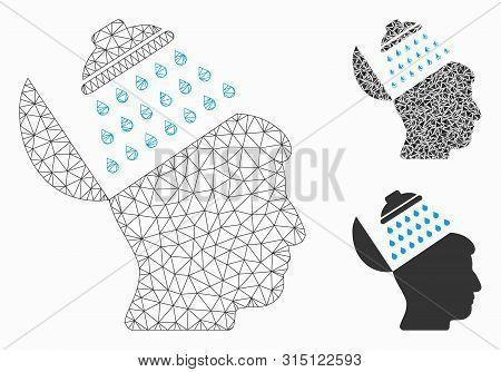 Mesh Propaganda Brain Shower Model With Triangle Mosaic Icon. Wire Carcass Triangular Mesh Of Propag