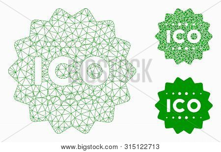 Mesh Ico Token Model With Triangle Mosaic Icon. Wire Carcass Triangular Mesh Of Ico Token. Vector Mo
