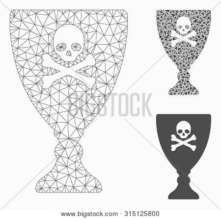 Mesh Poison Cup Model With Triangle Mosaic Icon. Wire Frame Triangular Mesh Of Poison Cup. Vector Co