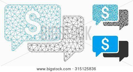 Mesh Price Bids Model With Triangle Mosaic Icon. Wire Carcass Triangular Mesh Of Price Bids. Vector