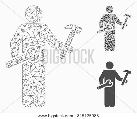 Mesh Serviceman Model With Triangle Mosaic Icon. Wire Frame Polygonal Mesh Of Serviceman. Vector Com